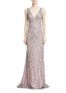 Theia Vintage Beaded Sleeveless V-Neck Gown