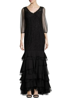 Kay Unger New York Tiered Mermaid Gown