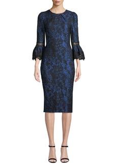 Theia Tulip-Sleeve Brocade Dress