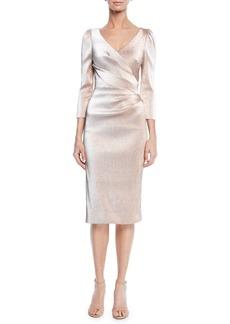 Theia V-Neck 3/4-Sleeve Stretch Lurex® Faux Wrap Cocktail Dress