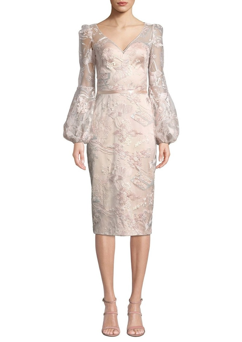 Theia V-Neck Lantern-Sleeve Sequin Embroidered Lace Illusion Dress