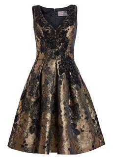 Theia V-Neck Sleeveless Cocktail Dress