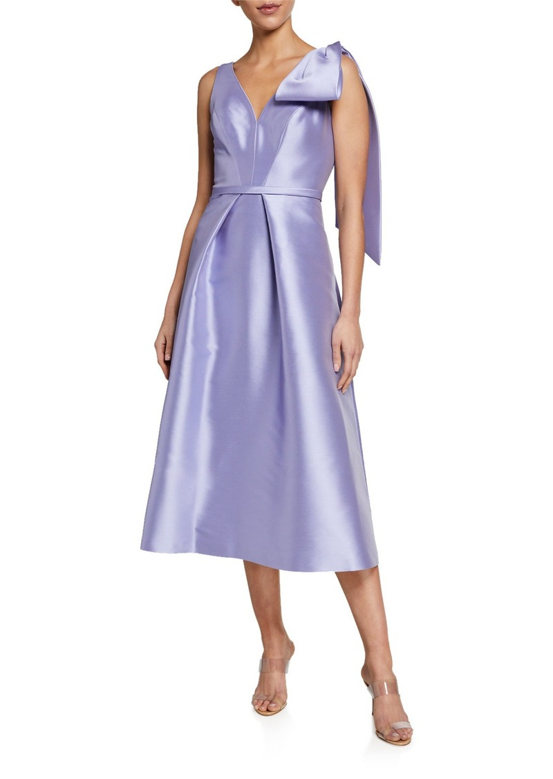 Theia V-Neck Sleeveless Faille A-Line Dress with Bow Detail