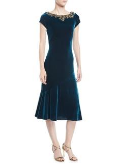 Theia Velvet Beaded-Neck Short-Sleeve Dress