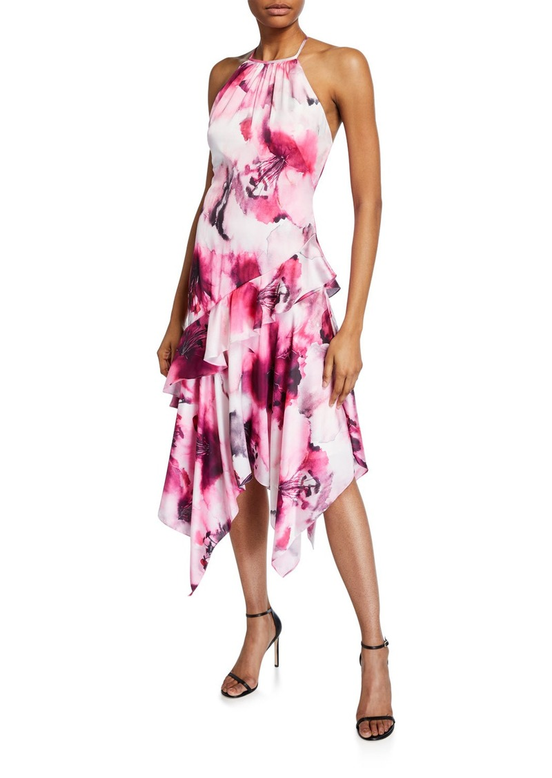 Theia Watercolor Floral Charmeuse Ruffle Halter Dress w/ Handkerchief Hem