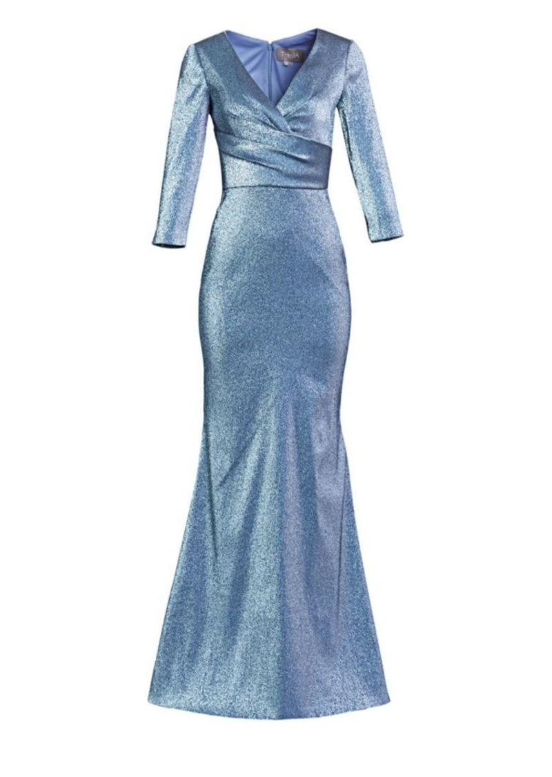 Theia Wrap Bodice Metallic Trumpet Gown