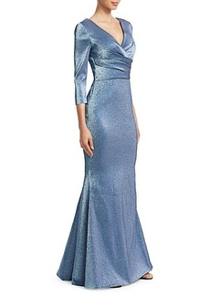 Theia Wrap Bodice Metallic Trumpet Gown
