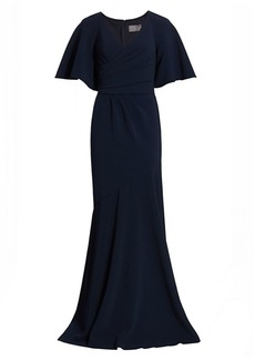Theia Wrap-Front V-Neck Gown