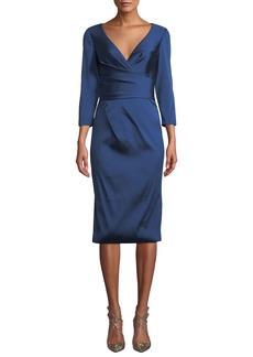 Theia Wrap-Illusion V-Neck Dress