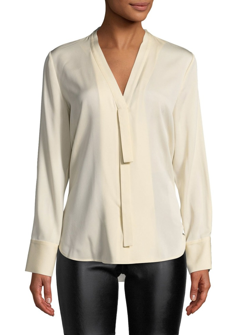 Theory Abbia Bow-Tab Button-Front Blouse