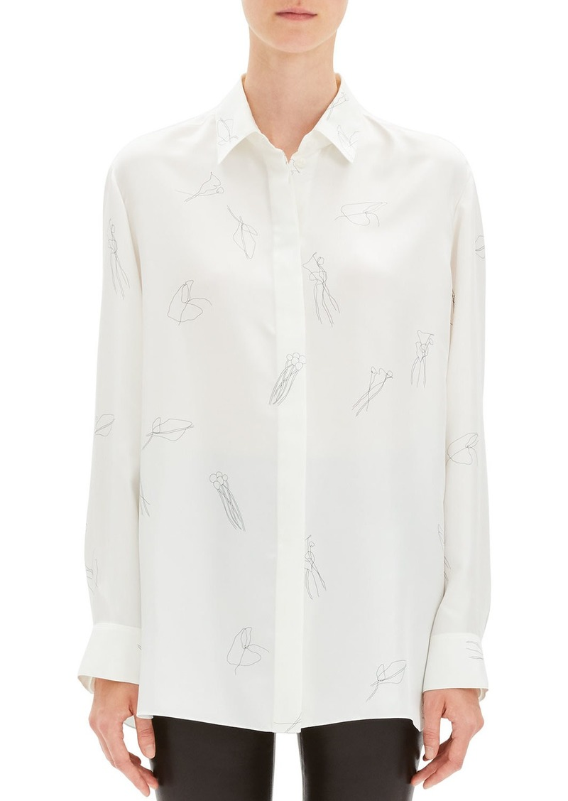 Theory Abstract Printed Silk Twill Button-Down Shirt