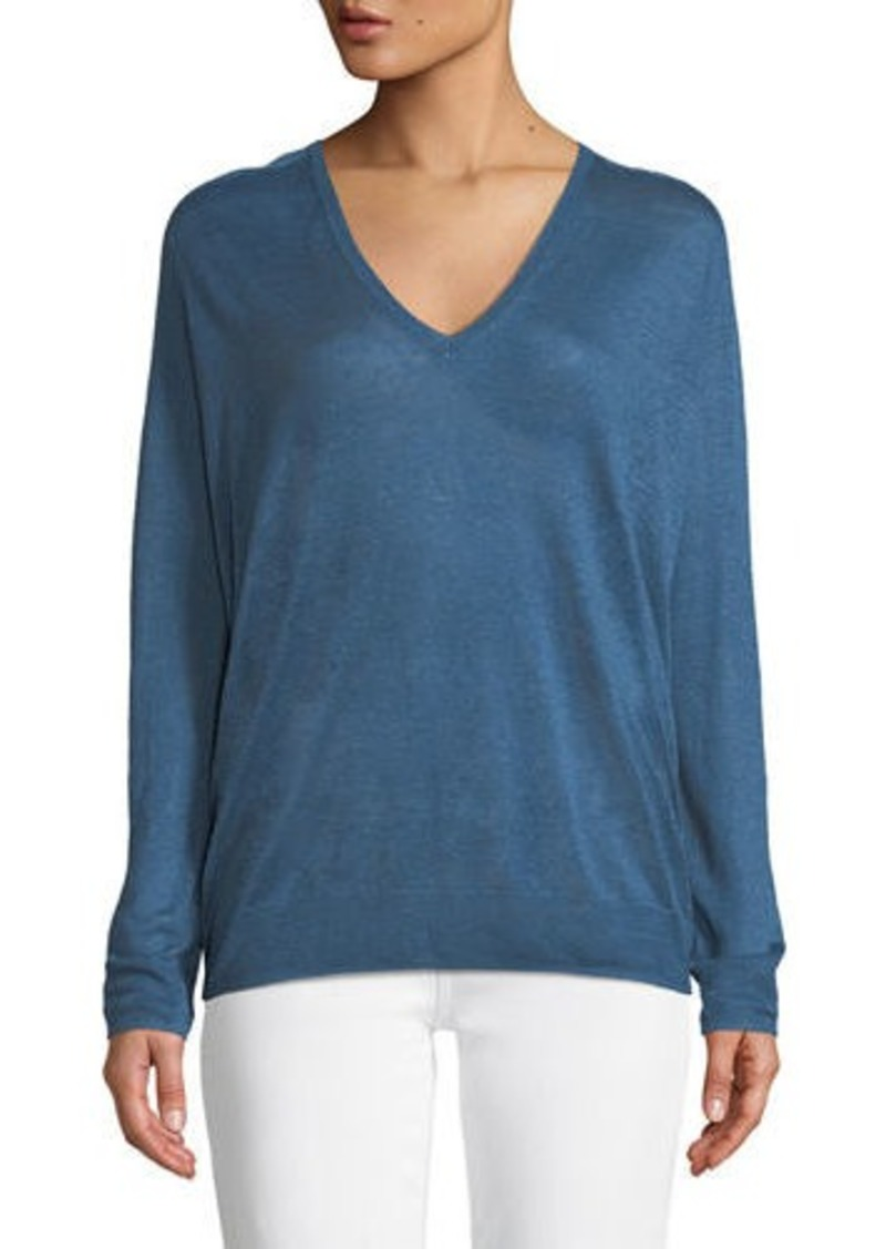 b3223f35cf Theory Adrianna Sag Harbour V-Neck Long-Sleeve Linen-Blend Top ...