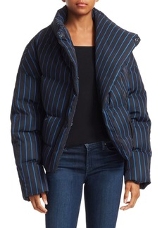 Theory Asymmetric Striped Puffer Jacket