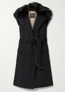 Theory Belted Faux Fur-trimmed Wool And Cashmere-blend Vest