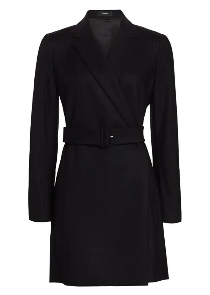 Theory Belted Stretch-Wool Blazer Dress