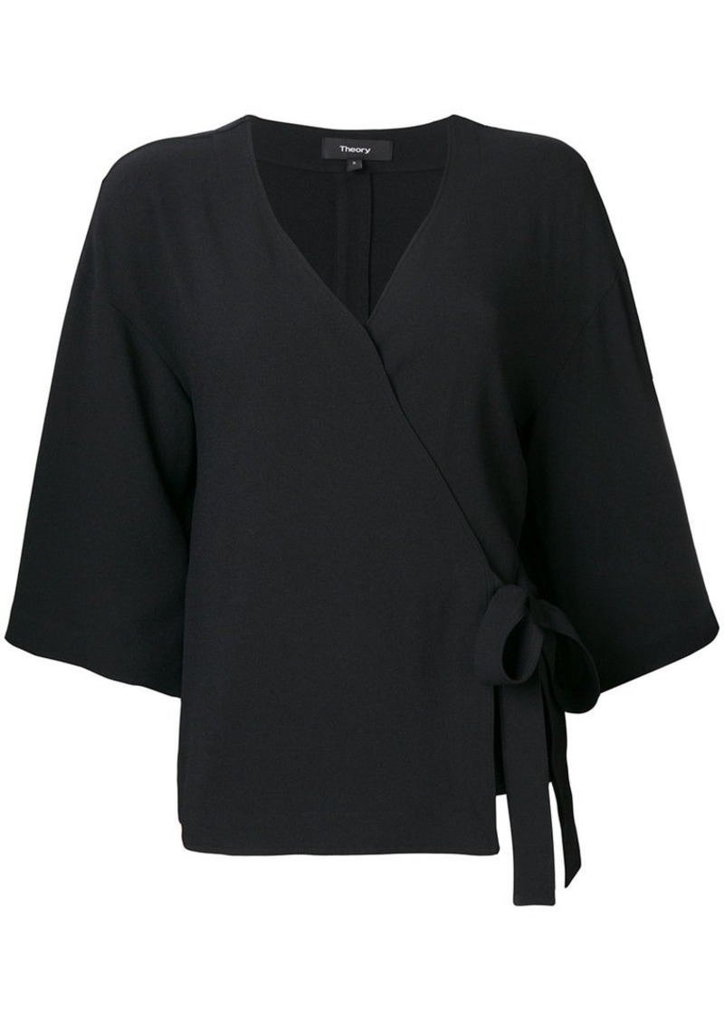 Theory belted V-neck blouse