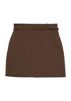 Theory Belted Wool-Blend Mini Skirt