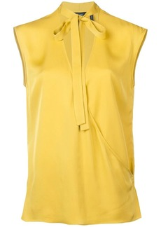 Theory bow tie V-neck blouse