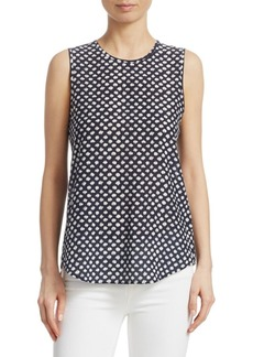 Theory Bringham Painter Dot Silk Top