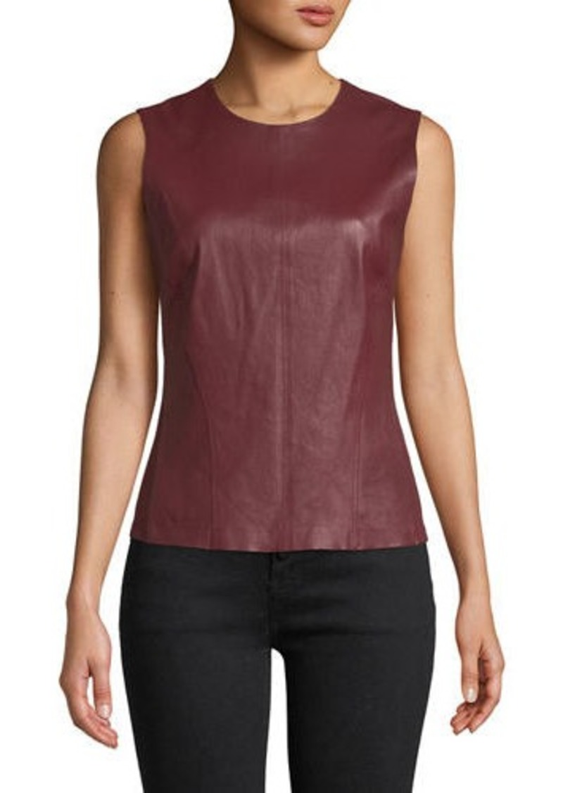 Theory Bristol Leather Modern Seamed C. Combo Shell