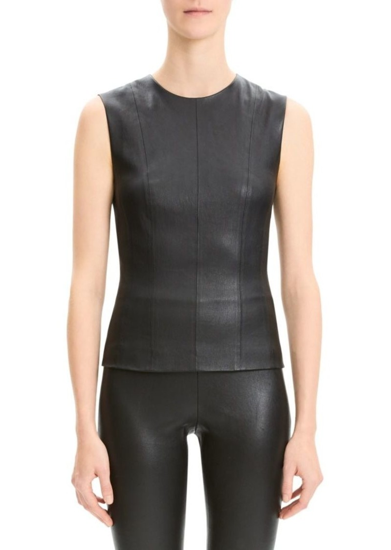 Theory Bristol Leather Shell Top