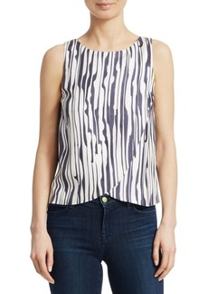 Theory Broken Stripe Silk Top