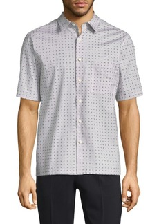 Theory Bruner Dot Print Button-Down Shirt