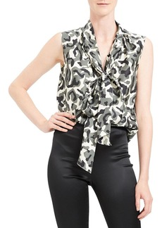 Theory Camo Tie Neck Sleeveless Silk Twill Top