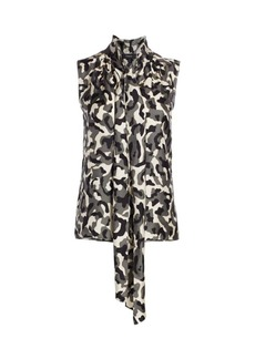 Theory Camouflage Tie-Neck Sleeveless Silk Blouse