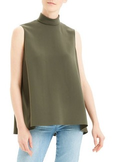 Theory Cascade Sleeveless Crepe Turtleneck Top