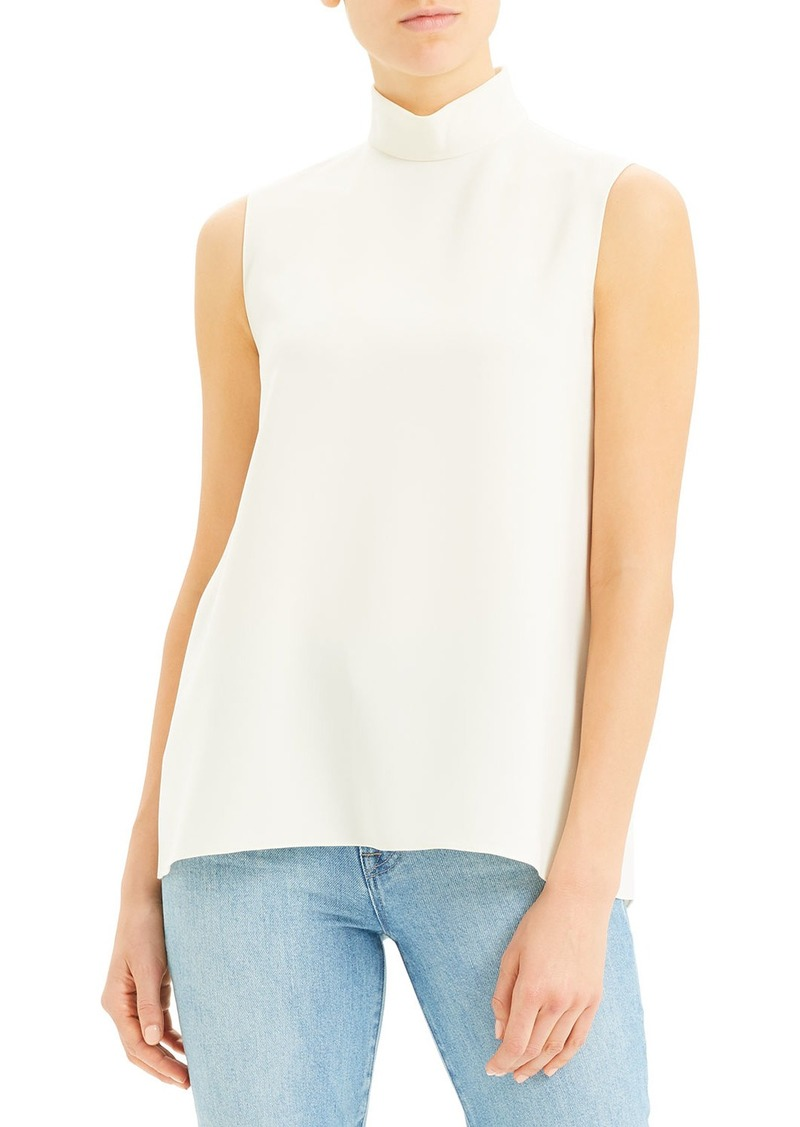 Theory Cascade Sleeveless Crepe Turtleneck Top  Rice