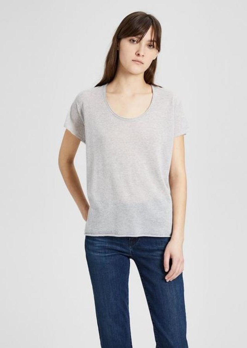 afdc434e42a Theory Cashmere Double-Trim Scoop Neck Tee   Outerwear