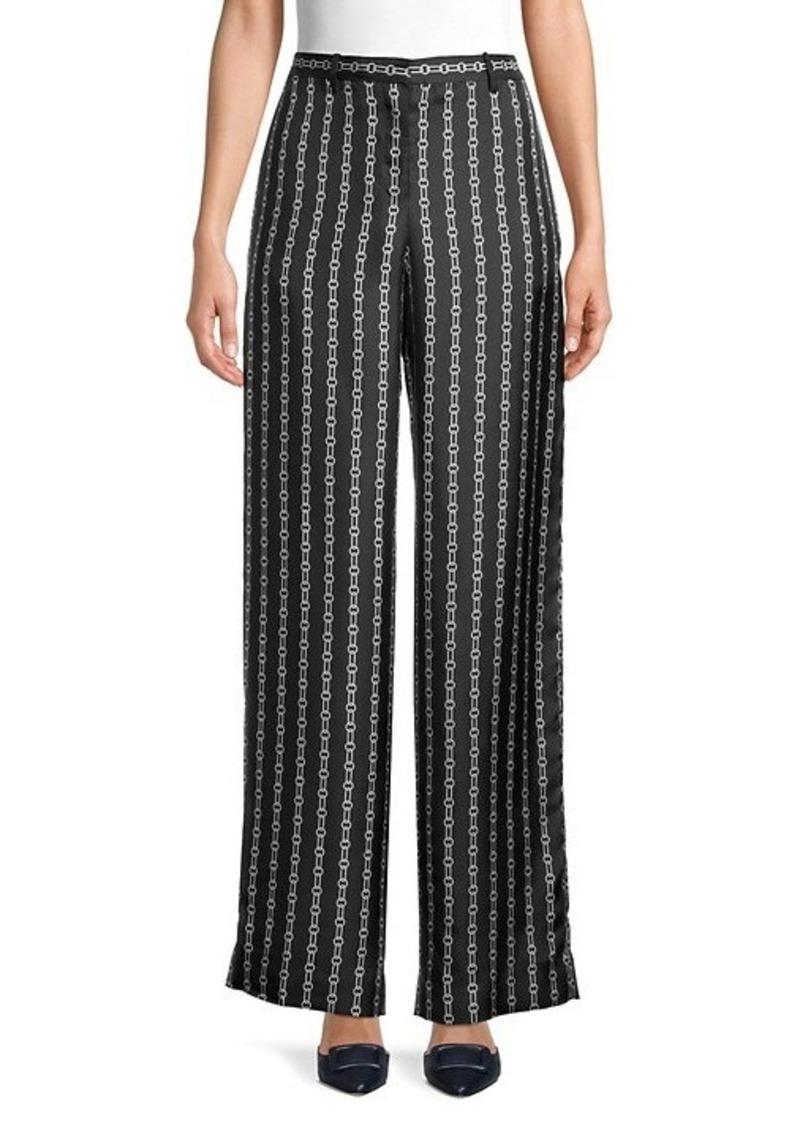 Theory Chain-Print Silk Pants