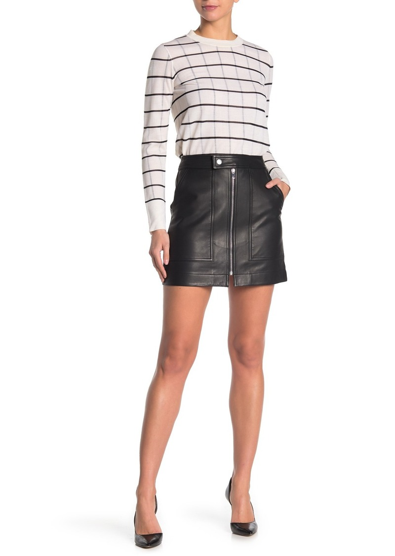 Theory City New Grain Leather Mini Skirt