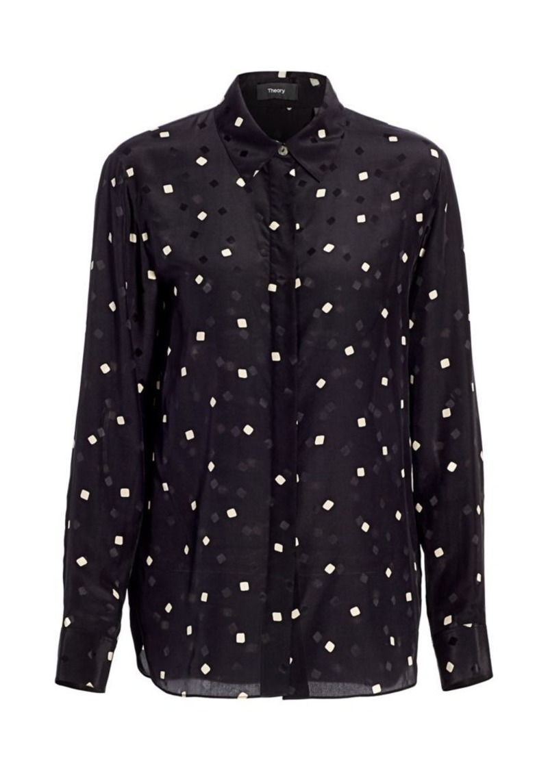 Theory Classic-Fit Sqaure-Print Silk Shirt