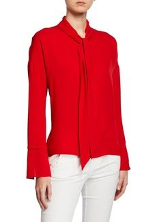 Theory Classic Georgette Scarf Shirt Blouse