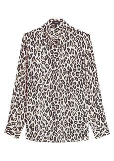 Theory Classic Straight Leopard Print Silk Shirt