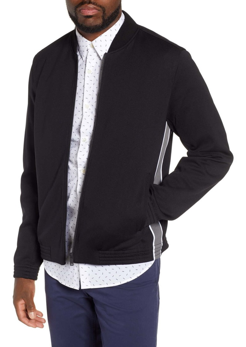 Theory Classon Striped Ponte Bomber Jacket