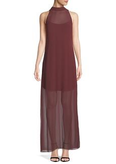 Theory Clean Halter Sleeveless Dot-Chiffon Maxi Dress