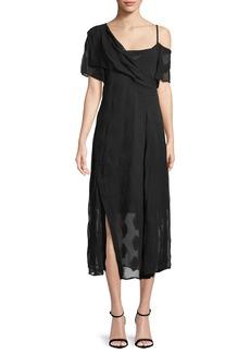 Theory Coastal Silk-Blend Asymmetric Dress