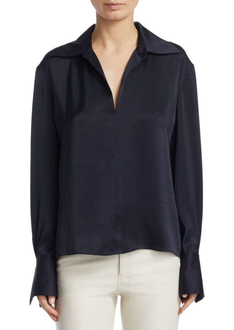Theory Collared V-Neck Blouse