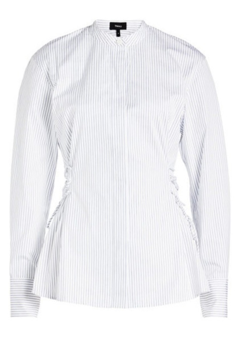 Theory Cotton Shirt with Lace-Up Sides