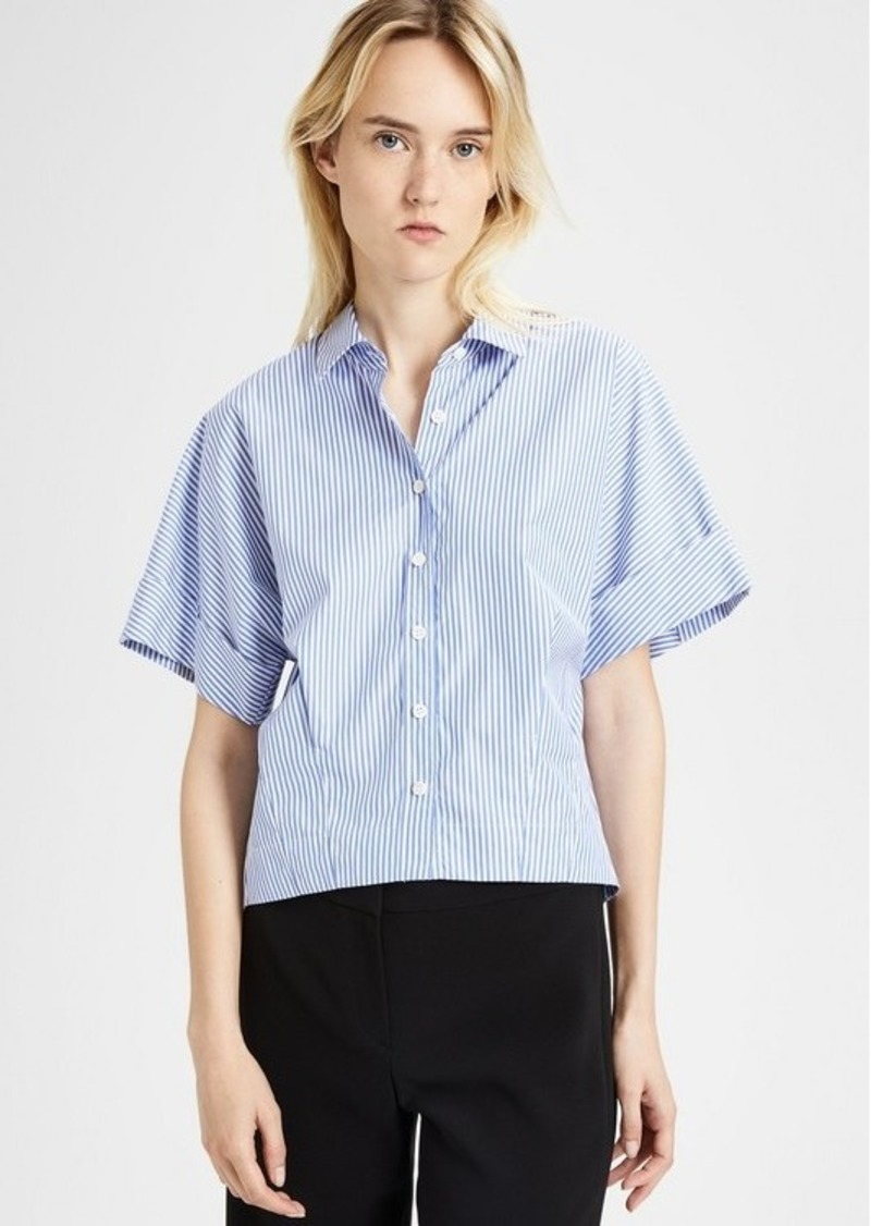 Theory Cotton Striped Cropped Button-Down