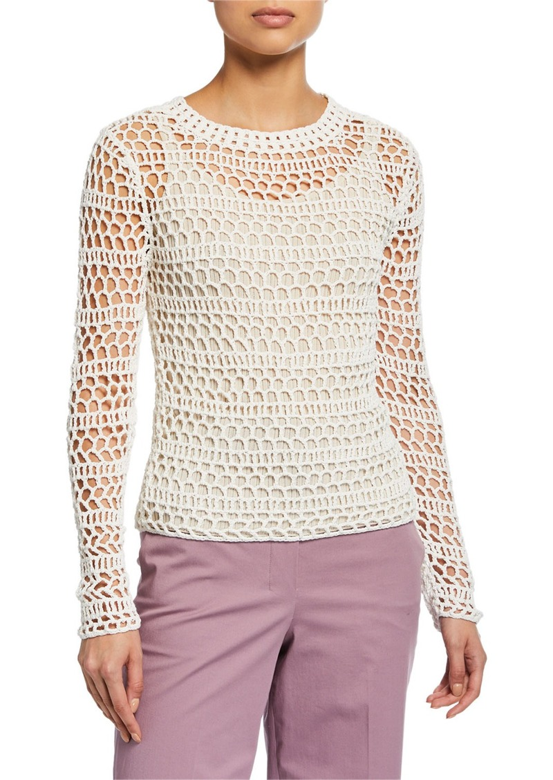 Crewneck Long-Sleeve Crochet Top