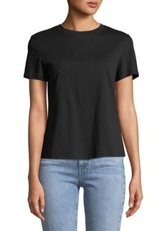 Theory Crewneck Short-Sleeve Cinch-Back Compact Cotton Jersey Tee