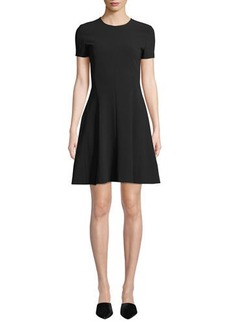 Theory Crewneck Short-Sleeve Modern Seamed Shift W. Admiral Crepe Dress