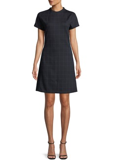 Theory Crewneck Short-Sleeve Windowpane Check Knit Dolman Shift Dress