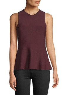 Theory Crewneck Sleeveless Classic Peplum G.Glossed Top