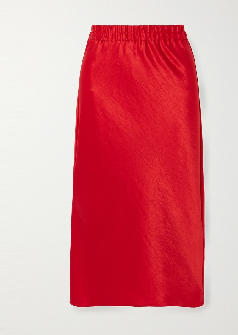 Theory Crinkled-satin Midi Skirt
