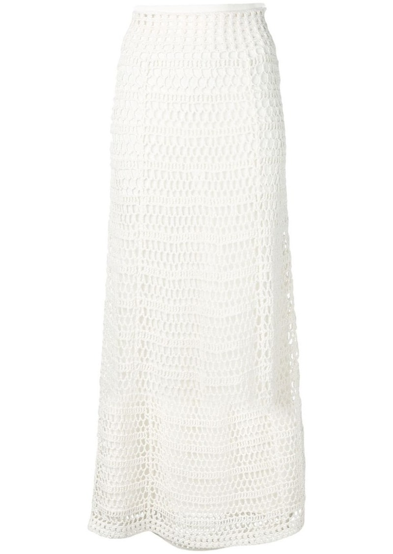 Theory crochet-knit high-waist skirt
